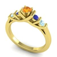Citrine Petite Sapallava Ring with Blue Sapphire and Aquamarine in 18k Yellow Gold