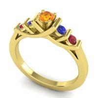 Citrine Petite Sapallava Ring with Blue Sapphire and Ruby in 14k Yellow Gold