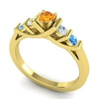 Citrine Petite Sapallava Ring with Diamond and Swiss Blue Topaz in 18k Yellow Gold