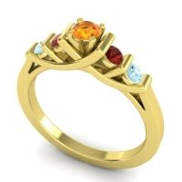 Citrine Petite Sapallava Ring with Garnet and Aquamarine in 18k Yellow Gold