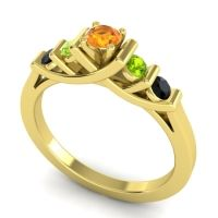 Citrine Petite Sapallava Ring with Peridot and Black Onyx in 14k Yellow Gold
