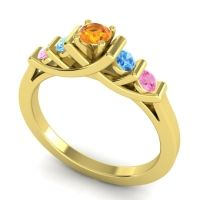 Citrine Petite Sapallava Ring with Swiss Blue Topaz and Pink Tourmaline in 14k Yellow Gold