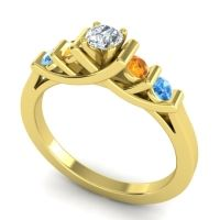 Diamond Petite Sapallava Ring with Citrine and Swiss Blue Topaz in 18k Yellow Gold