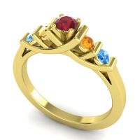 Ruby Petite Sapallava Ring with Citrine and Swiss Blue Topaz in 18k Yellow Gold