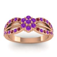 Simple Floral Pave Kalikda Amethyst Ring with Ruby in 18K Rose Gold