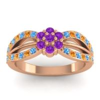 Simple Floral Pave Kalikda Amethyst Ring with Citrine and Swiss Blue Topaz in 14K Rose Gold