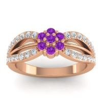 Simple Floral Pave Kalikda Amethyst Ring with Diamond in 18K Rose Gold