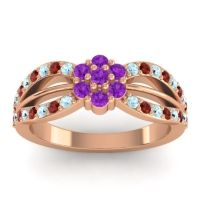 Simple Floral Pave Kalikda Amethyst Ring with Garnet and Aquamarine in 14K Rose Gold