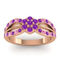 Simple Floral Pave Kalikda Amethyst Ring with Pink Tourmaline in 14K Rose Gold