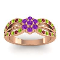 Simple Floral Pave Kalikda Amethyst Ring with Ruby and Peridot in 18K Rose Gold