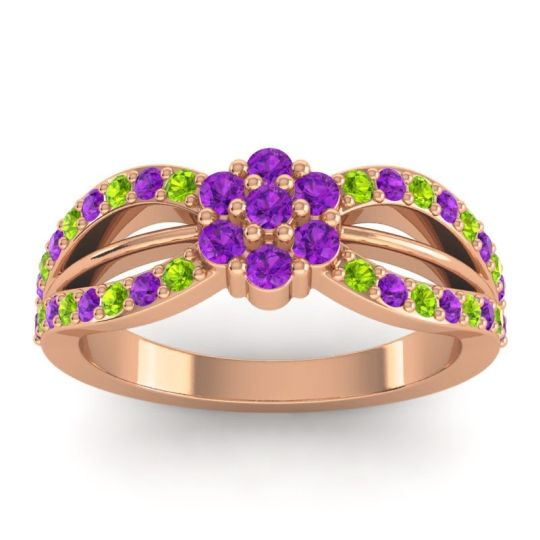 Simple Floral Pave Kalikda Amethyst Ring with Peridot in 18K Rose Gold