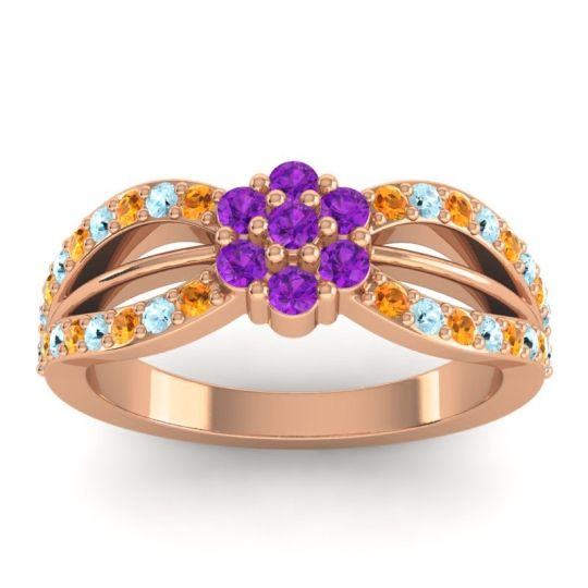 Simple Floral Pave Kalikda Amethyst Ring with Aquamarine and Citrine in 14K Rose Gold