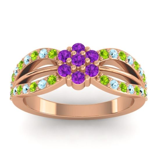 Simple Floral Pave Kalikda Amethyst Ring with Aquamarine and Peridot in 18K Rose Gold