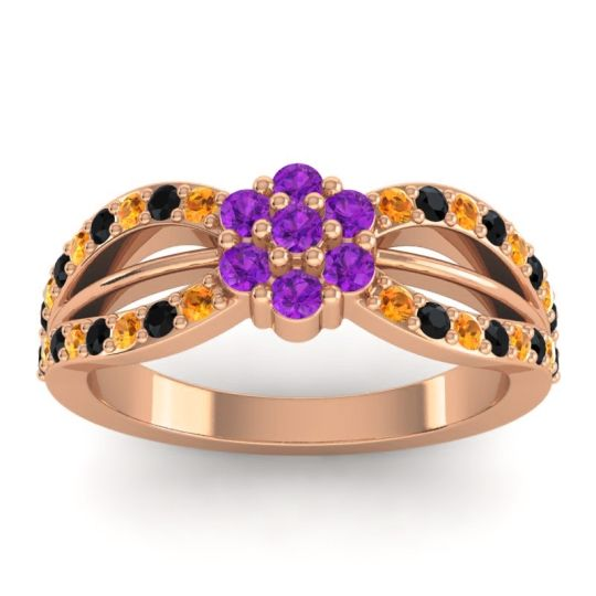 Simple Floral Pave Kalikda Amethyst Ring with Black Onyx and Citrine in 18K Rose Gold