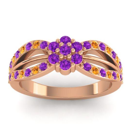 Simple Floral Pave Kalikda Amethyst Ring with Citrine in 14K Rose Gold