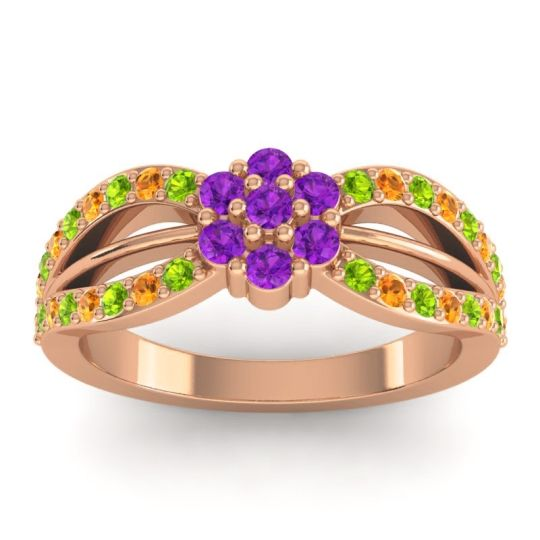 Simple Floral Pave Kalikda Amethyst Ring with Citrine and Peridot in 14K Rose Gold
