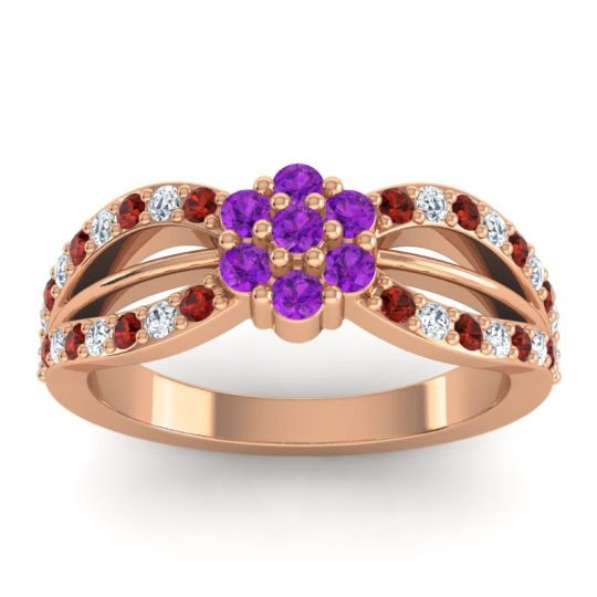 Simple Floral Pave Kalikda Amethyst Ring with Diamond and Garnet in 14K Rose Gold