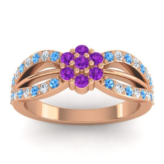 Simple Floral Pave Kalikda Amethyst Ring with Diamond and Swiss Blue Topaz in 14K Rose Gold