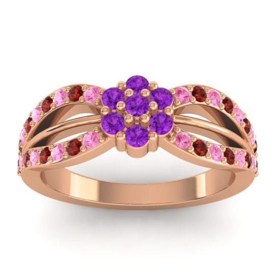 Simple Floral Pave Kalikda Amethyst Ring with Garnet and Pink Tourmaline in 18K Rose Gold