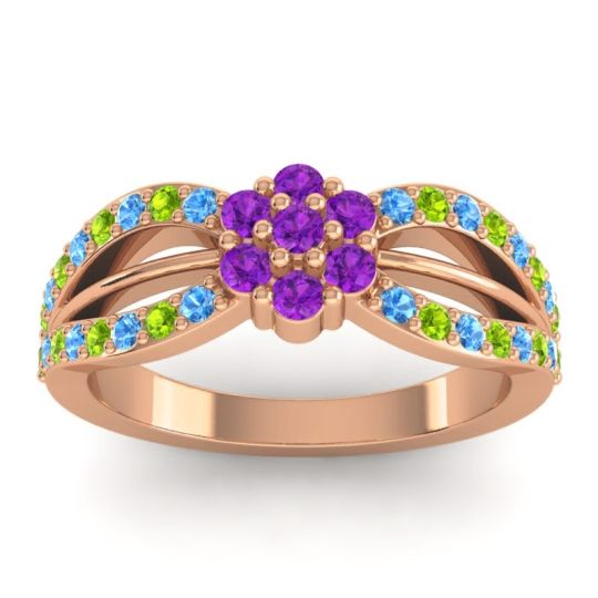 Simple Floral Pave Kalikda Amethyst Ring with Peridot and Swiss Blue Topaz in 18K Rose Gold