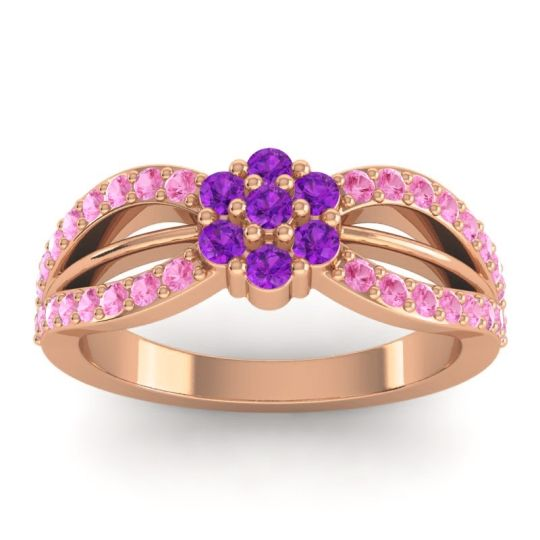 Simple Floral Pave Kalikda Amethyst Ring with Pink Tourmaline in 18K Rose Gold