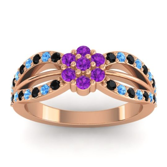 Simple Floral Pave Kalikda Amethyst Ring with Swiss Blue Topaz and Black Onyx in 14K Rose Gold