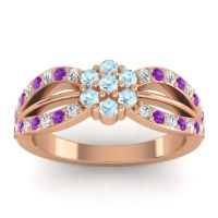 Simple Floral Pave Kalikda Aquamarine Ring with Amethyst and Diamond in 14K Rose Gold