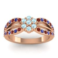 Simple Floral Pave Kalikda Aquamarine Ring with Blue Sapphire and Garnet in 18K Rose Gold