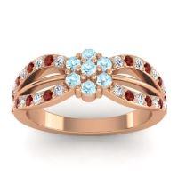 Simple Floral Pave Kalikda Aquamarine Ring with Garnet and Diamond in 18K Rose Gold