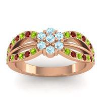 Simple Floral Pave Kalikda Aquamarine Ring with Garnet and Peridot in 18K Rose Gold