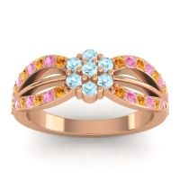 Simple Floral Pave Kalikda Aquamarine Ring with Pink Tourmaline and Citrine in 14K Rose Gold