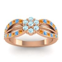 Simple Floral Pave Kalikda Aquamarine Ring with Swiss Blue Topaz and Citrine in 18K Rose Gold
