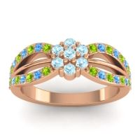 Simple Floral Pave Kalikda Aquamarine Ring with Swiss Blue Topaz and Peridot in 14K Rose Gold