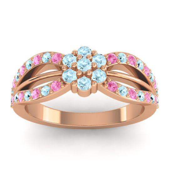 Simple Floral Pave Kalikda Aquamarine Ring with Pink Tourmaline in 18K Rose Gold