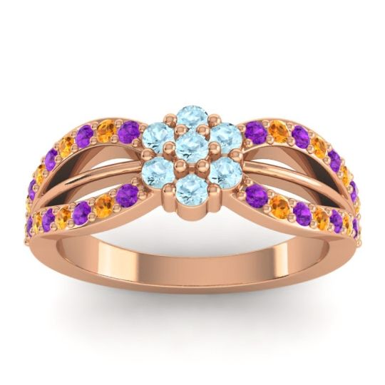 Simple Floral Pave Kalikda Aquamarine Ring with Citrine and Amethyst in 14K Rose Gold
