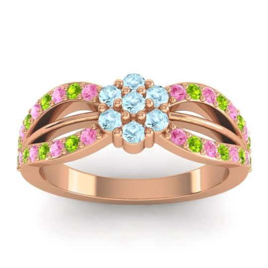 Simple Floral Pave Kalikda Aquamarine Ring with Peridot and Pink Tourmaline in 14K Rose Gold