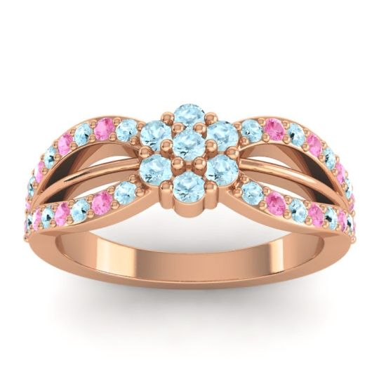 Simple Floral Pave Kalikda Aquamarine Ring with Pink Tourmaline in 14K Rose Gold