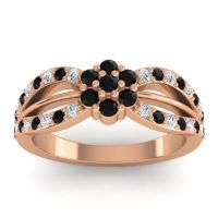 Simple Floral Pave Kalikda Black Onyx Ring with Diamond in 18K Rose Gold