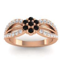Simple Floral Pave Kalikda Black Onyx Ring with Diamond in 14K Rose Gold