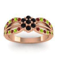 Simple Floral Pave Kalikda Black Onyx Ring with Peridot and Garnet in 14K Rose Gold