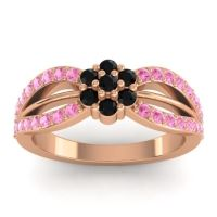 Simple Floral Pave Kalikda Black Onyx Ring with Pink Tourmaline in 18K Rose Gold