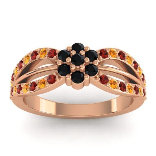 Simple Floral Pave Kalikda Black Onyx Ring with Citrine and Garnet in 14K Rose Gold
