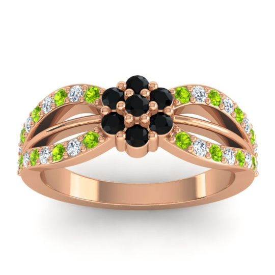 Simple Floral Pave Kalikda Black Onyx Ring with Diamond and Peridot in 18K Rose Gold
