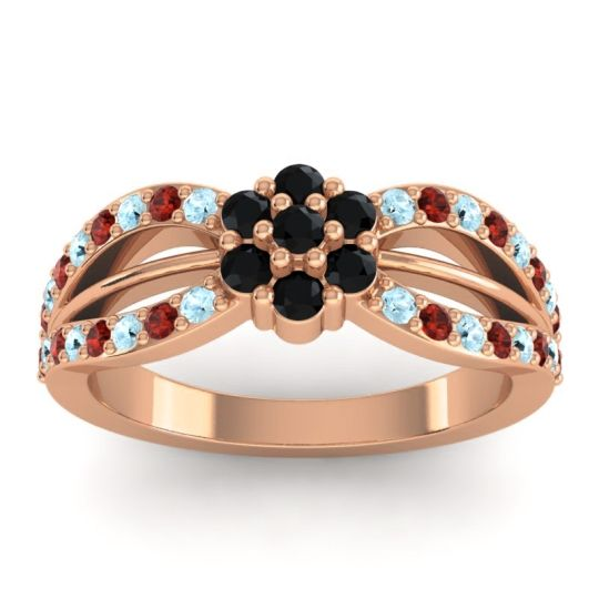 Simple Floral Pave Kalikda Black Onyx Ring with Garnet and Aquamarine in 18K Rose Gold