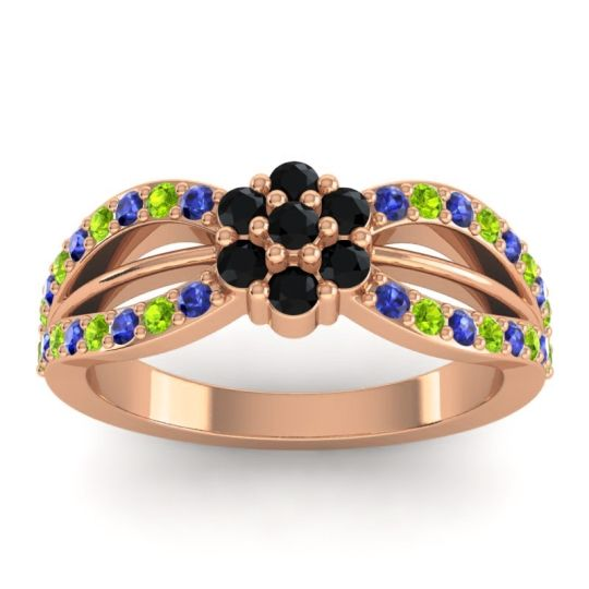 Simple Floral Pave Kalikda Black Onyx Ring with Peridot and Blue Sapphire in 18K Rose Gold