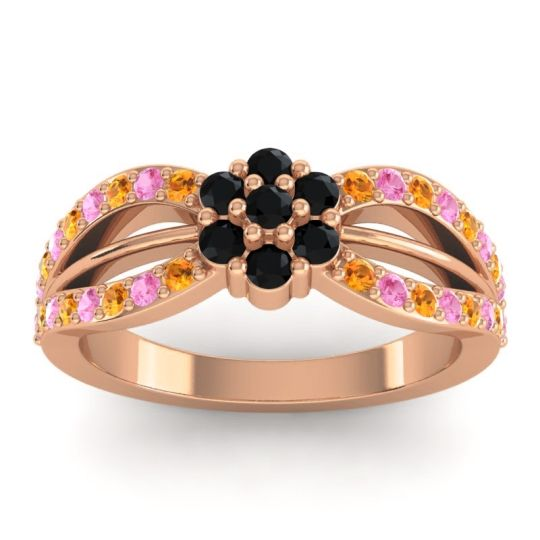 Simple Floral Pave Kalikda Black Onyx Ring with Pink Tourmaline and Citrine in 18K Rose Gold