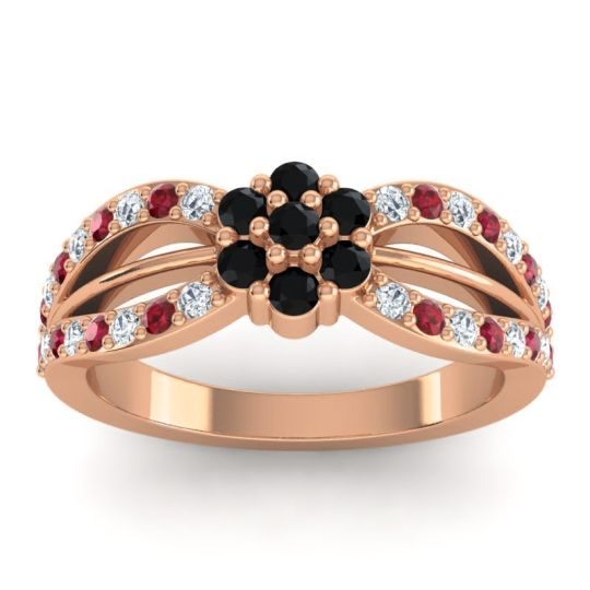 Simple Floral Pave Kalikda Black Onyx Ring with Ruby and Diamond in 14K Rose Gold