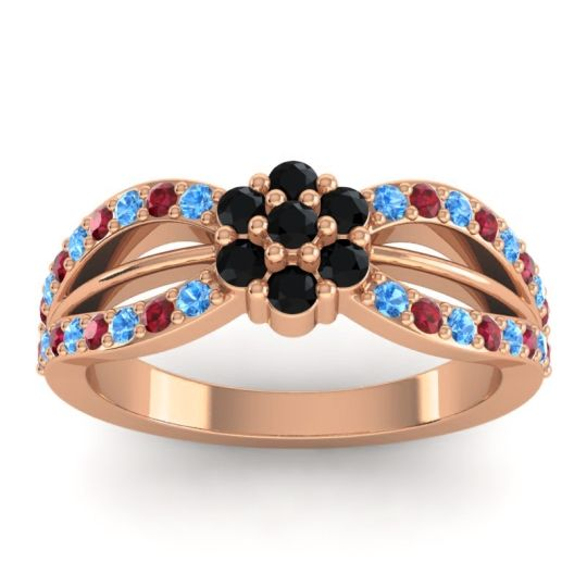 Simple Floral Pave Kalikda Black Onyx Ring with Ruby and Swiss Blue Topaz in 14K Rose Gold