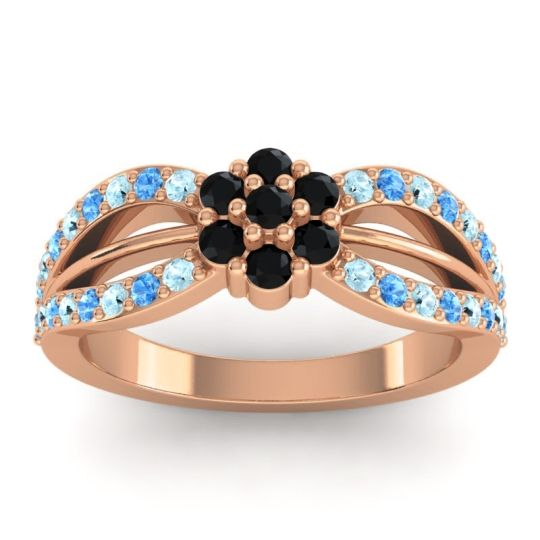 Simple Floral Pave Kalikda Black Onyx Ring with Swiss Blue Topaz and Aquamarine in 18K Rose Gold