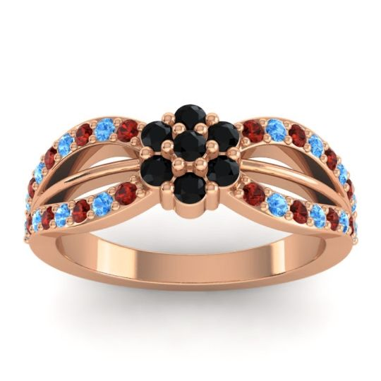 Simple Floral Pave Kalikda Black Onyx Ring with Swiss Blue Topaz and Garnet in 14K Rose Gold